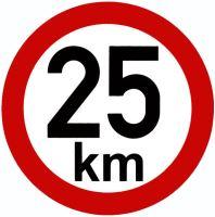 Samolepka - rýchlosť 25 km / h