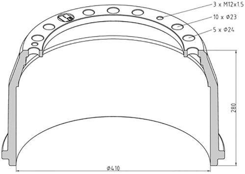 Brzdový buben MAN / Mercedes 410x180 - zadní