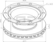 Brzdový kotouč BPW 377x159,5mm, 10 děr