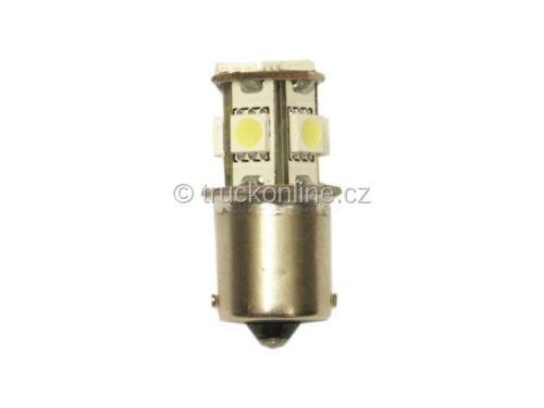 Žárovka LED 24V 5W BA15s červená 8xSMD
