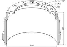 Brzdový buben Volvo 410x225 - zadní