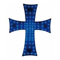 Svítící kříž do kamionu LED, modrý
