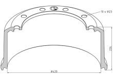 Brzdový buben BPW 420x180