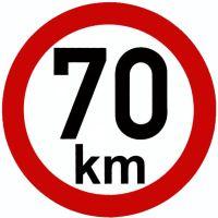 Samolepka - rýchlosť 70 km / h