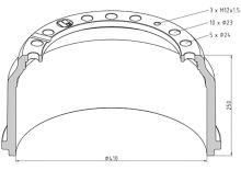 Brzdový bubon MAN 410x160 - predné