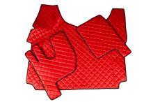 Kožené koberce Renault T - vysoký tunel, červené