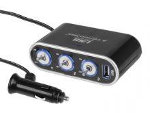 Zásuvka do zapaľovača - trojita s USB, s vypinanim