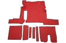 Kožené koberce MAN TGX - manual, 1 šuplík, červené
