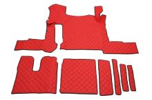 Kožené koberce MAN TGX - manual, 2 šuplíky, červené