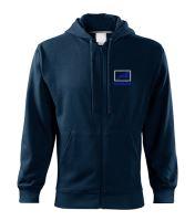 Mikina s kapucí MAN, dlouhý zip, výšivka, modrá