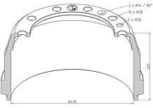 Brzdový buben Volvo 410x175 - přední
