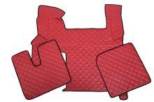 Kožené koberce MAN TGX - automat, 2 šuplíky, červené