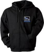 Mikina s kapucí MAN, dlouhý zip, výšivka, černá