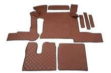 Kožené koberce MAN TGX - manual, 2 šuplíky, hnědé