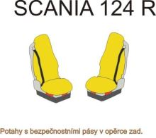 Autopoťahy Scania R, pásy na sedačkách, červené