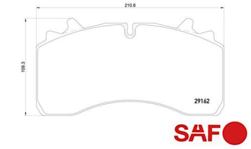 Brzdové destičky SAF 29162 pro Wabco 22,5