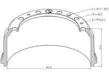 Brzdový buben MAN / Mercedes 410x160 - přední