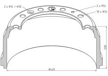 Brzdový buben DAF 420x160 - přední