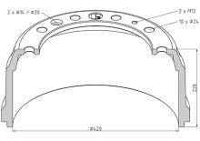 Brzdový bubon DAF 420x160 - predné