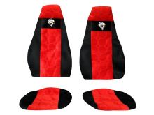 Autopotahy Scania R, pásy na sedačkách, červené