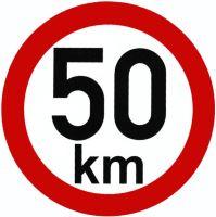 Samolepka - rýchlosť 50 km / h