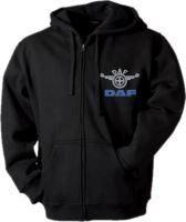 Mikina s kapucňou DAF, dlhý zips, výšivka, čierna