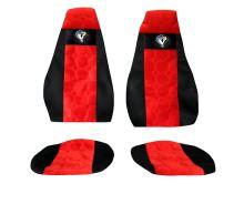 Autopotahy Volvo FH 2002-2008, pásy na sedačkách, červené