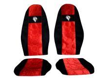 Autopoťahy Volvo FH 2008->, pásy na sedačkách, červené