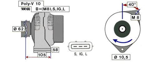 Alternátor 90A Iveco Stralis/Trakker - 10 drážek