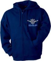 Mikina s kapucňou DAF, dlhý zips, výšivka, modrá