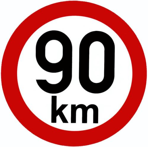 Samolepka - rychlost 90km/h